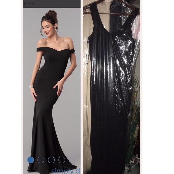 Cinderella Divine Dresses Long Off Shoulder Mermaid Black Dress